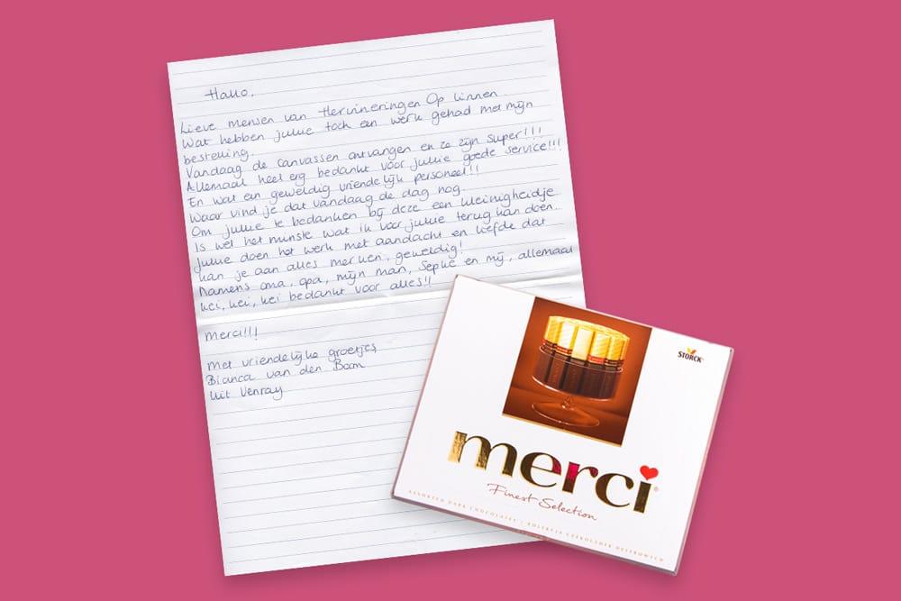 Handgeschreven brief van klant met chocolade