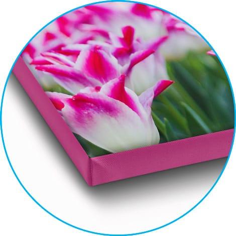 Foto op canvas met gekleurde zijkanten