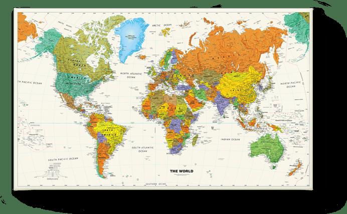 Wereldkaart Schoolkaart 1