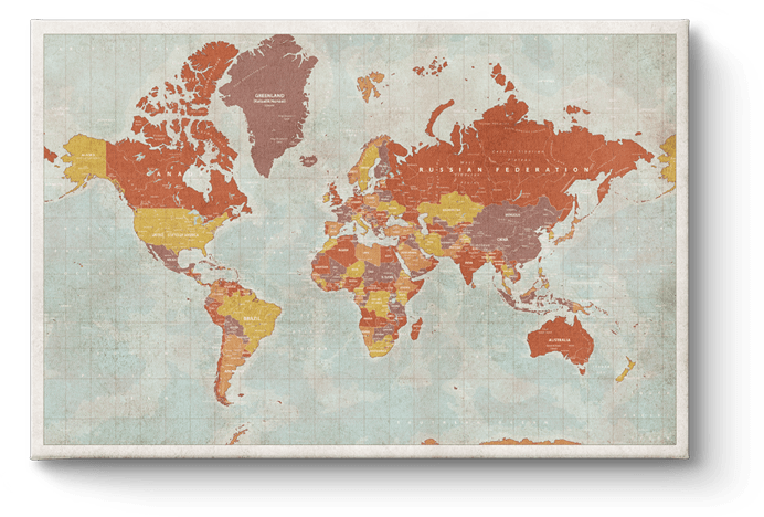 Wereldkaart Vintage Red