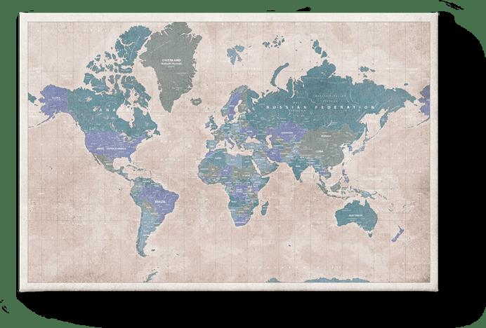 Wereldkaart Vintage Blue